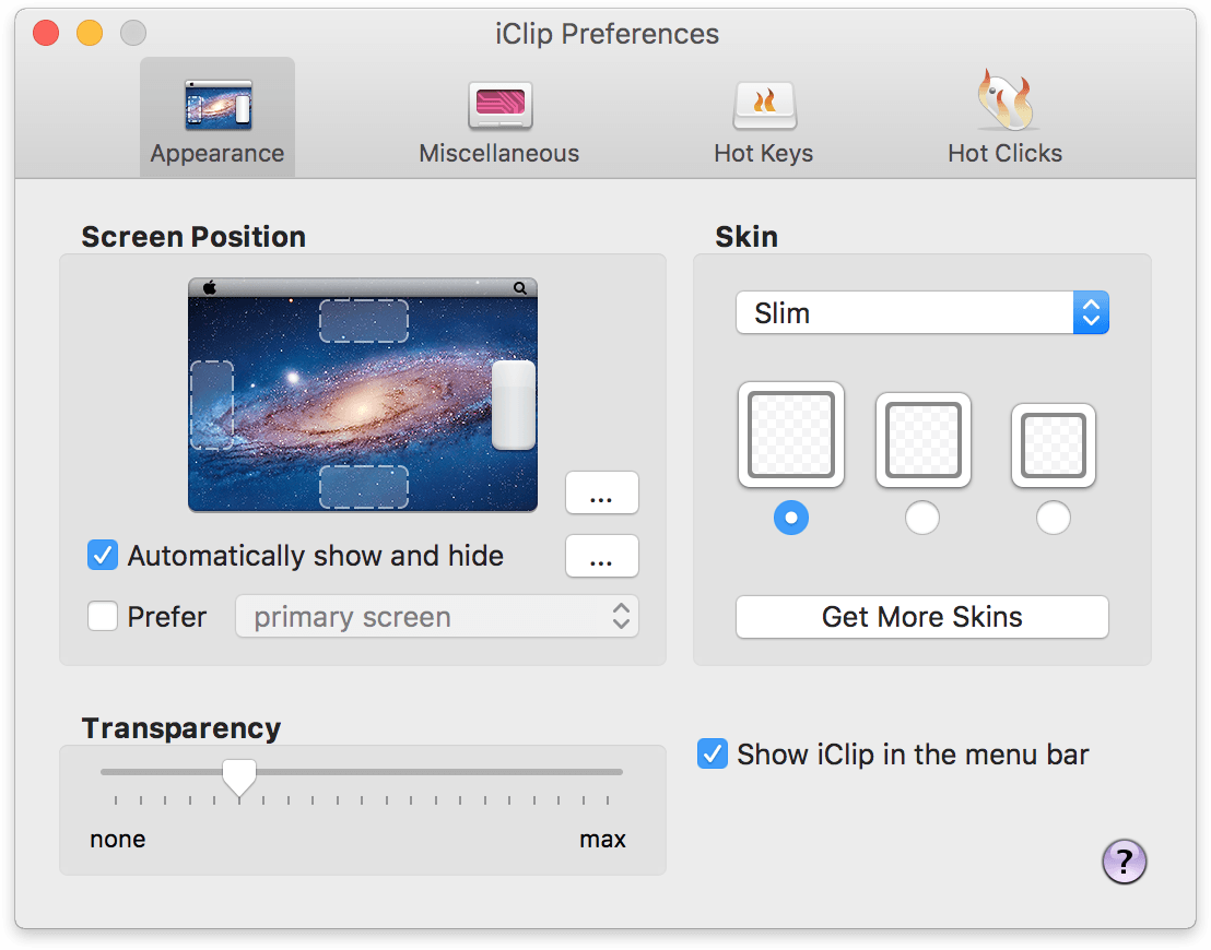 iClip Preferences Window